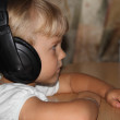 Girl with headphones — Stock Photo