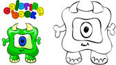Coloring book monster — Stock Vector