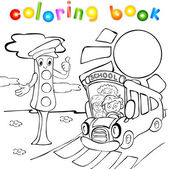 Traffic lights with school bus. Coloring book — Stock Vector