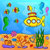 Underwater world with yellow submarine — Stock Vector