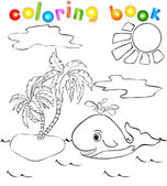 Whale near the island with palms. Coloring book — Stockvektor