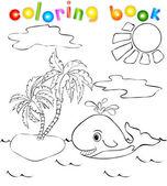 Walvis in de buurt van het eiland met palmen. kleurboek — Stockvector