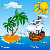 Sailship ve tropikal adası — Stok Vektör