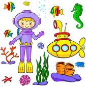 Underwater set — Stock Vector