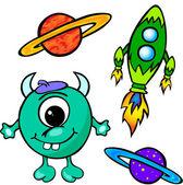 Alien, rocket and planet — Stock Vector