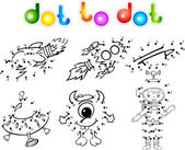 Spase set 2 dot to dot — Stock Vector