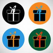 De doos van de gift. vector pictogram — Stockvector