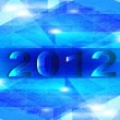 Happy new year 2012. abstract blue background — Imagen vectorial