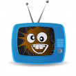 Blue TV. Broadcast a good mood. crazy smile. vector background. — Stock Vector