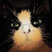 Hypnotické zelené kočičí oči ve tmě. vektorové ilustrace — Stock vektor