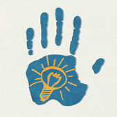 Light bulb. The concept of idea. light bulb in the hand of man. — Stockvector