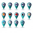 Stock Vector: GPS icon set blue