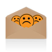 Smiley face in envelope - vector — Vector de stock