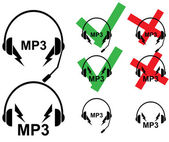 Vector illustration of different types of headsets — 图库矢量图片