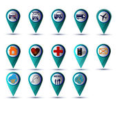 GPS icon set blue — Stock Vector