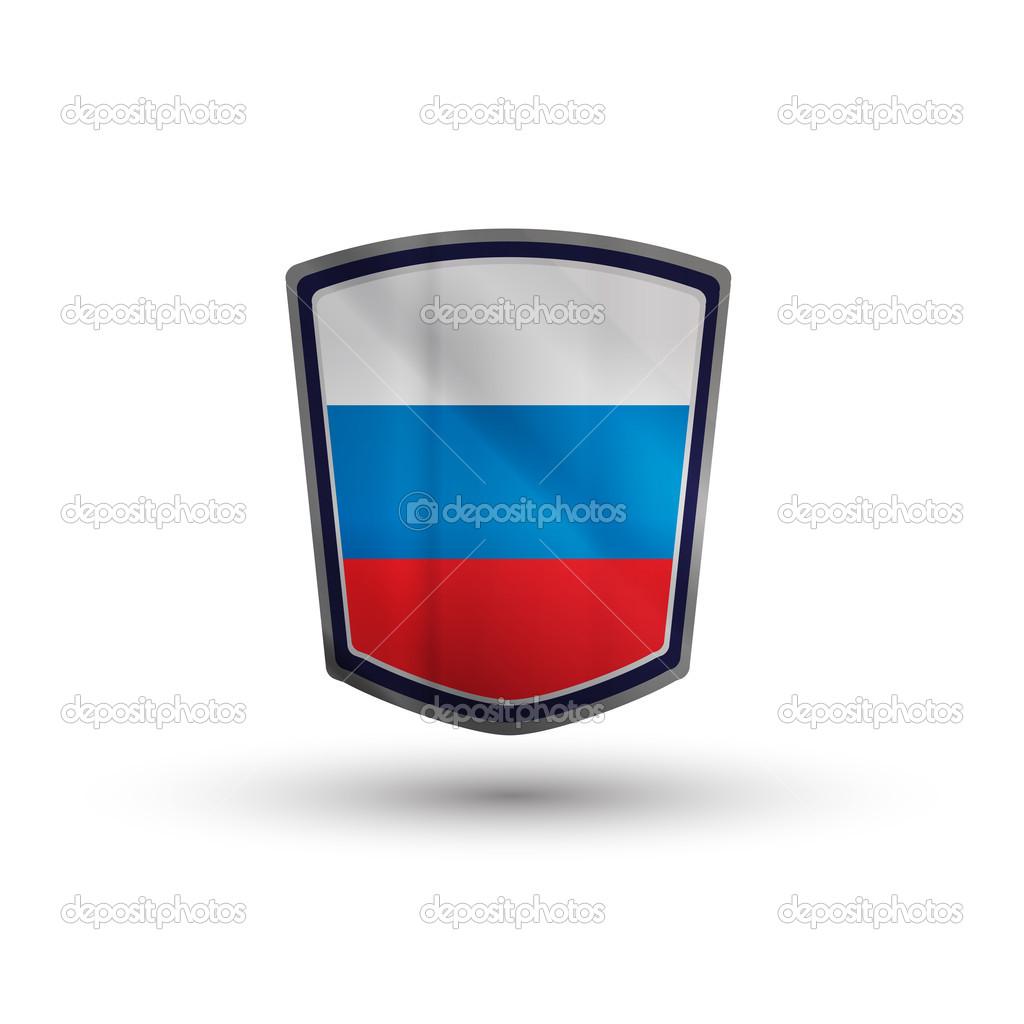 俄罗斯国旗上闪闪发光的金属屏蔽矢量图