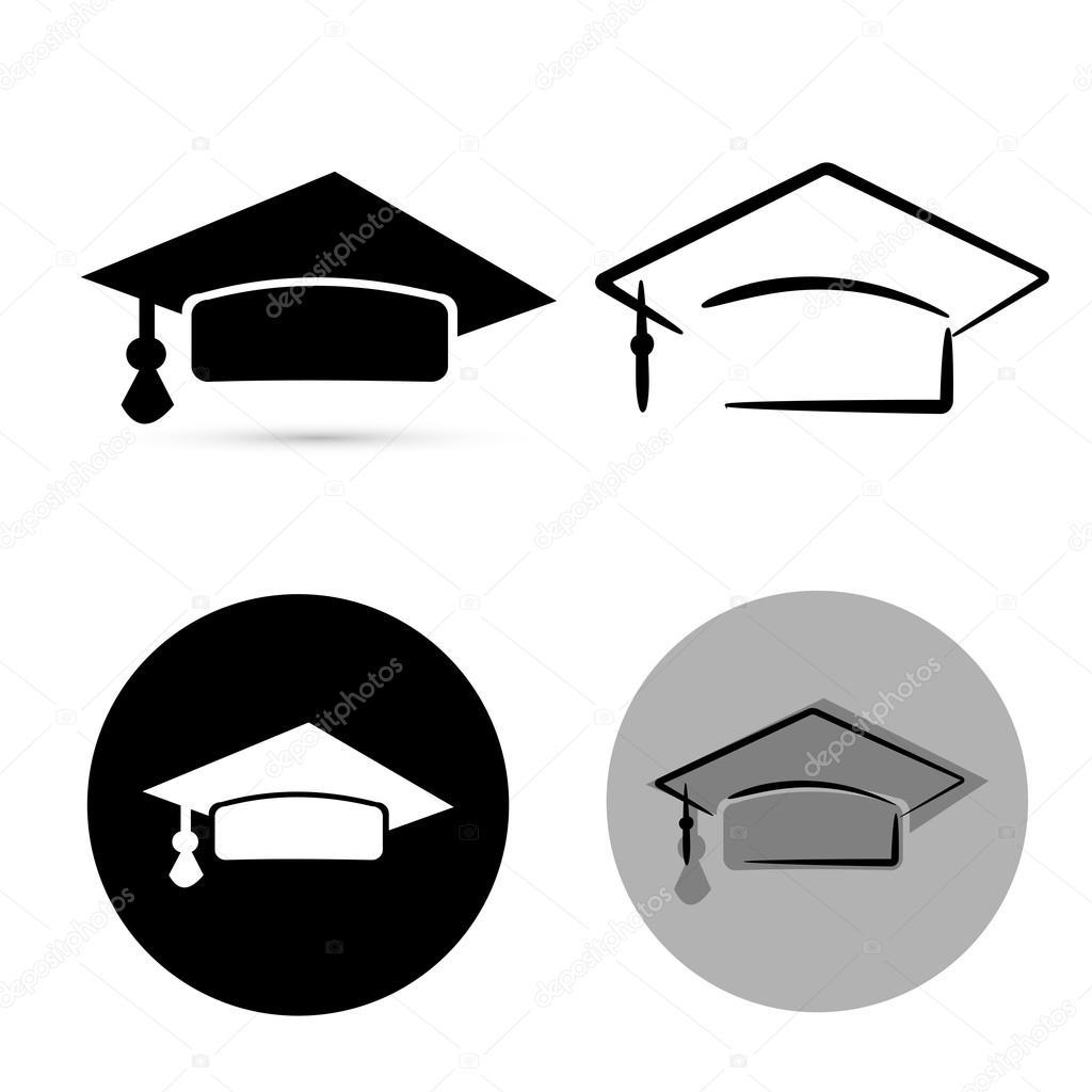 研究生黑帽孤立在白色背景.矢量