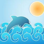 Dolphin jumping through waves — Stock Vector