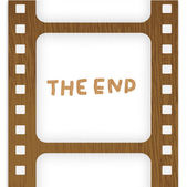 Old filmstrip. Movie ending frame — Stock Vector