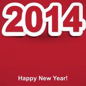 Rojo y blanco feliz nuevo año 2014 — Vector de stock