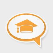 Speech bubble with hat graduate — Stock Vector