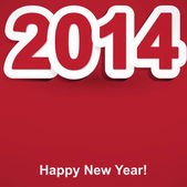 Red and white Happy New Year 2014 — Stock Vector