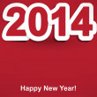Stock Vector: Red and white Happy New Year 2014