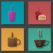 Set of icons for food and drink — Stock Vector