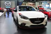 NONTHABURI - MARCH 25: New Mazda 3 on display at The 35th Bangko — Stock Photo