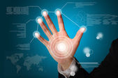 Hand of Business man touch on digital virtual screen — Stock Photo