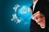 Business Man drawing earth globe — ストック写真