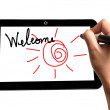 Hand of Business Man Welcome on Touch screen of Tablet PC — Stock Photo #43821289