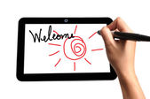 Hand of Business Man Welcome on Touch screen of Tablet PC — Stock Photo