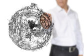 Business Man Drawing earth globe — Stock Photo