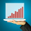 Female Hand Serving the planet with digital tablet present Chart or Graph — Stock Photo #44939011