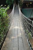 Suspension bridge across the water — Stock Photo