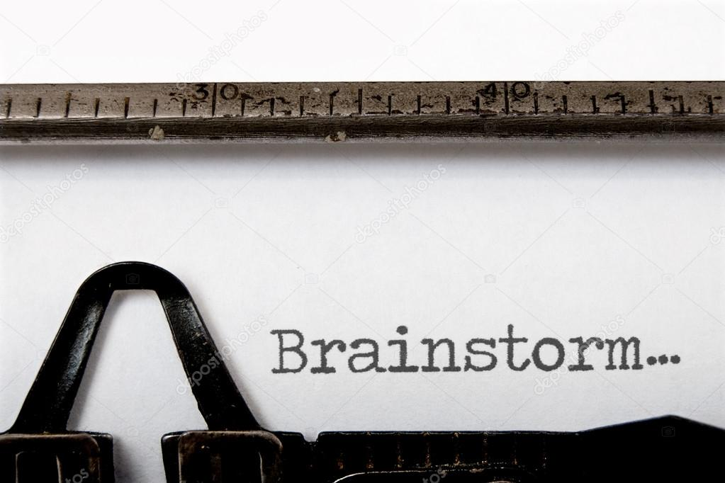 Brainstorm written on a vintage typewriter  Stock Photo #12879417