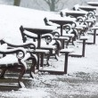 Snow covered benches — Stock Photo