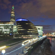 London city hall and skyline at night - Stock Photo