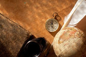 Compass, quill and globe atlas — Stock Photo