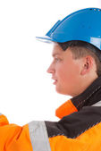 Worker builder looking left — Stock Photo