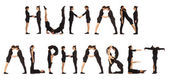 Black dressed people forming HUMAN ALPHABET word over white — Stock Photo