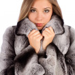 Beautiful young woman in a fur coat  — Stock Photo