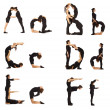 A, B, C, D, E and F abc letters formed by humans — Stok fotoğraf