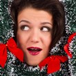 Stock Photo: Womwith tinsel