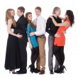 Three happy young couples in love — Stock Photo
