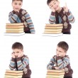 Collage of four photos of young boy with books isolated over white background — Foto Stock