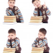 Collage of four photos of young boy with books isolated over white background — Stok fotoğraf