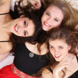 Group of three teenage beautiful girls isolated on white background — Stock Photo