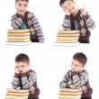 Collage of four photos of young boy with books isolated over white background — Stock Photo #35308897